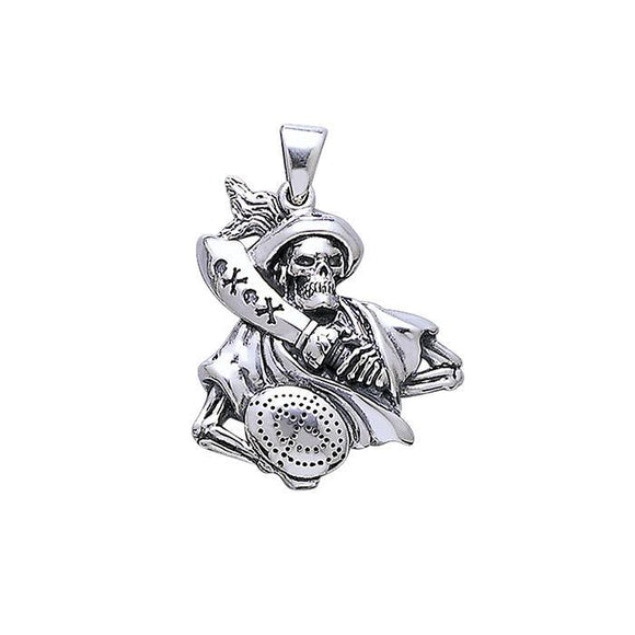 Pirate Skull Sterling Silver Pendant TP3055
