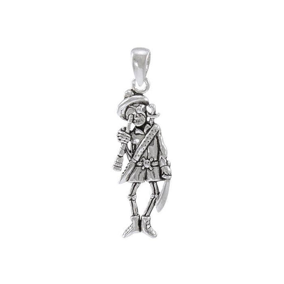 Pirate Skeleton with SpyglassSterling Silver Pendant TP3058