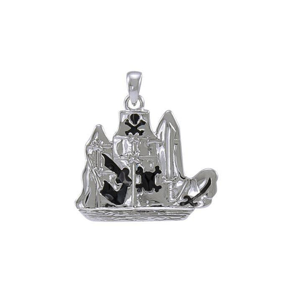 Pirate Ship Sterling Silver Pendant TP3071