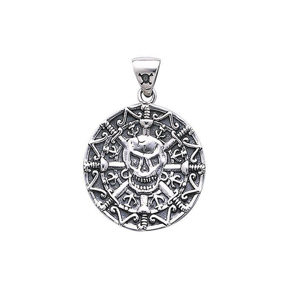 Mayan Pirate Skull Sterling Silver Pendant TP3097