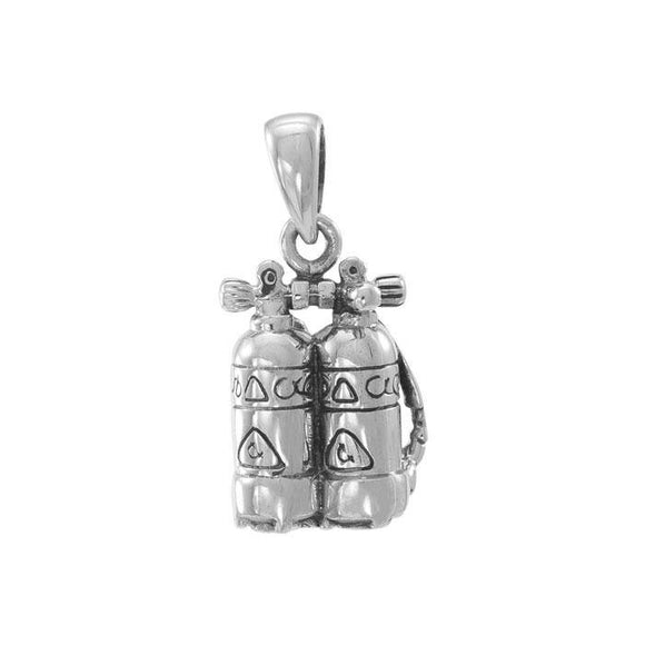 Double Dive Tanks Set Sterling Silver Pendant TP945