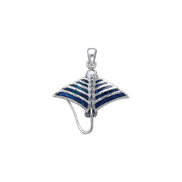 Inlaid Eagle Ray Sterling Silver Pendant TPD052