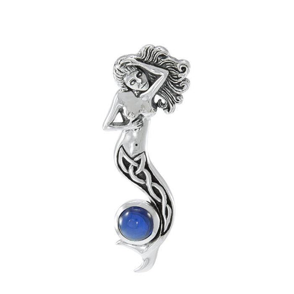 Celtic Mermaid with Gemstone Sterling Silver Pendant TPD079
