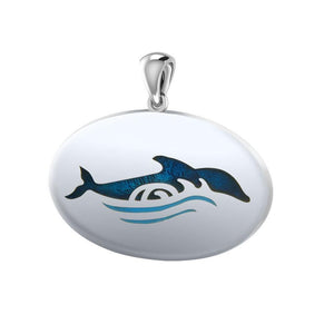 Dolphin In Waves Sterling Silver Pendant TPD1022 - Pendants