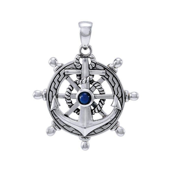 Anchor with Gemstone Sterling Silver Pendant TPD4050