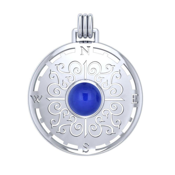 Compass Rose Sterling Silver Pendant with Gemstone TPD4210 - Pendants