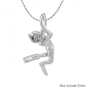 Male Free Diver Sterling Silver Pendant TPD4934