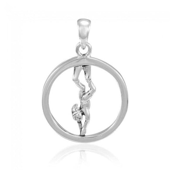 Round Female Free Diver Sterling Silver Pendant TPD4935