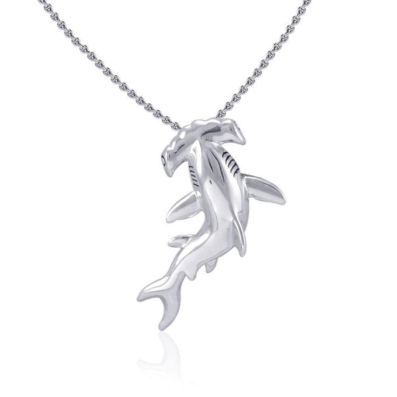Hammerhead Shark Silver with Hidden Bail Pendant TPD5020