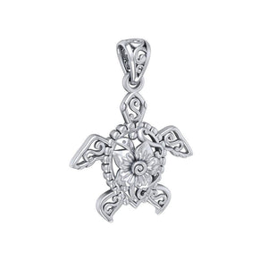 One meaningful step at a time ~ Sterling Silver Sea Turtle Filigree Pendant Jewelry TPD5139