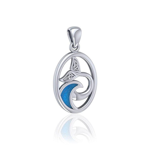 Sterling Silver Oval Celtic Whale Tail Pendant with Enamel Wave TPD5184