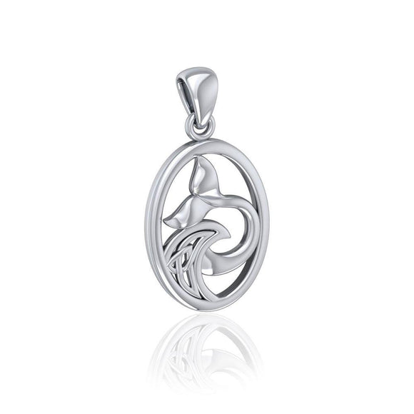 Sterling Silver Oval Whale Tail Pendant with Celtic Wave TPD5186