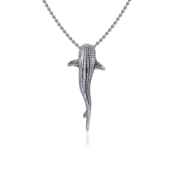 Gentle giants in benign grace ~ Small Whale Shark Silver with Hidden Bail Pendant TPD5198