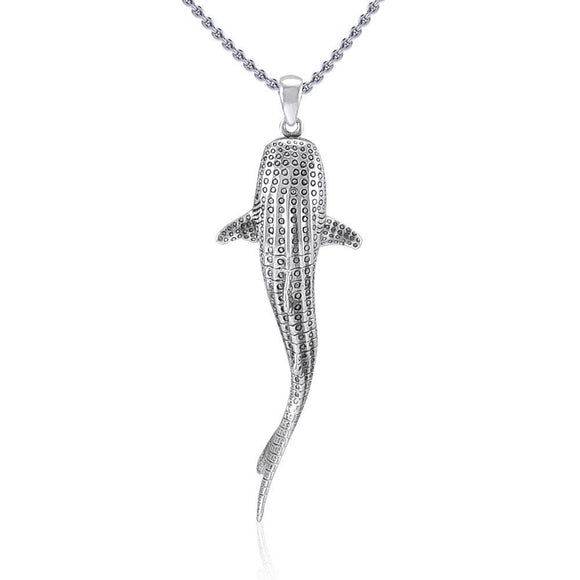 Gentle giants in benign grace ~ Large Whale Shark Silver Pendant TPD5199