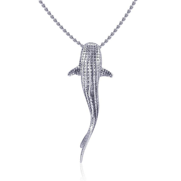 Gentle giants in benign grace ~ Large Whale Shark Silver with Hidden Bail Pendant TPD5200