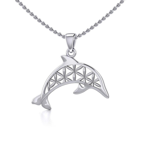 Swimming Dolphin with Flower of Life Silver Pendant TPD5272