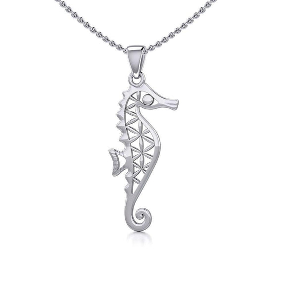 Flower of Life Seahorse Silver Pendant TPD5299