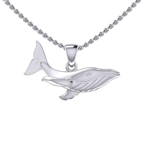Swimming Blue Whale Sterling Silver Pendant TPD5405