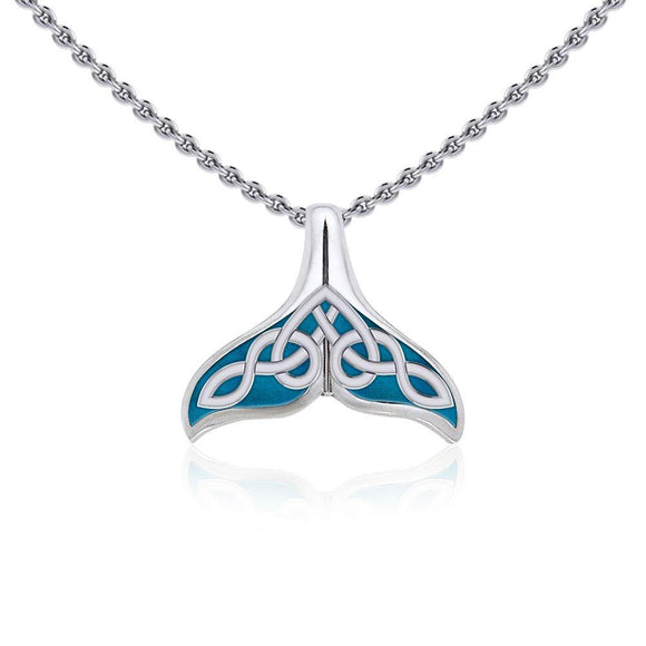 Celtic Whale Tail Silver Pendant with Enamel TPD5666