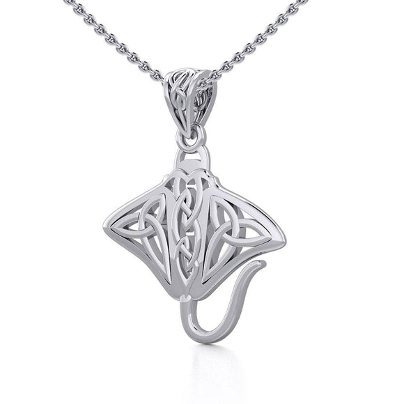 Grant the positive energy Silver Celtic Manta Ray Pendant TPD5703