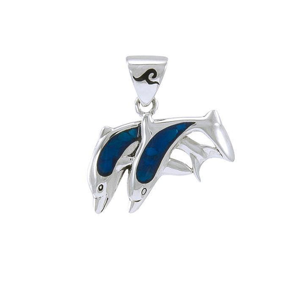Twin Dolphins Sterling Silver Pendant TPD584