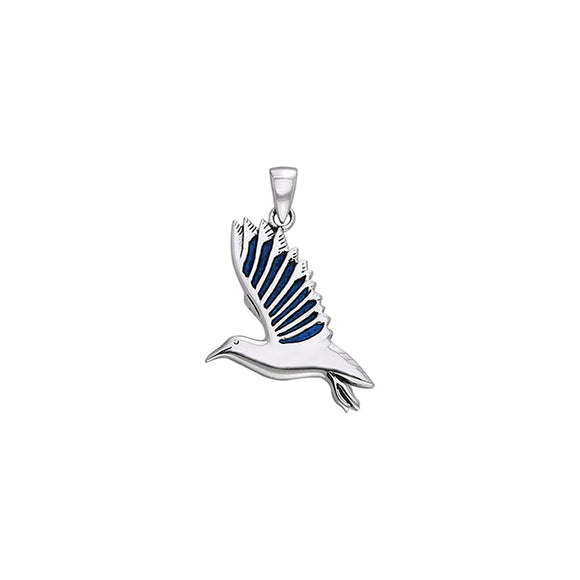 Inlaid Seagull Sterling Silver Pendant TPD585