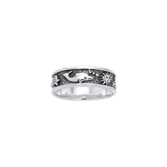 Dolphin Sun Stars Sterling Silver Ring TR037