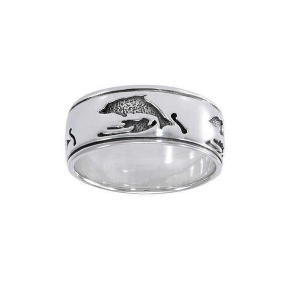 Dolphins Sterling Silver Ring TR1071