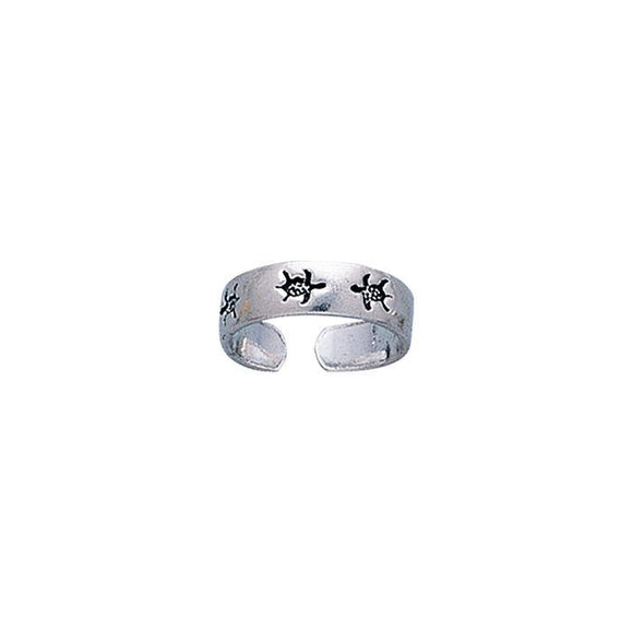 Turtle Toe Sterling Silver Toe Ring TR1202 - Toe Rings