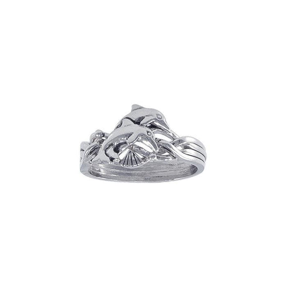 Dolphin Puzzle Sterling Silver Ring TR1338