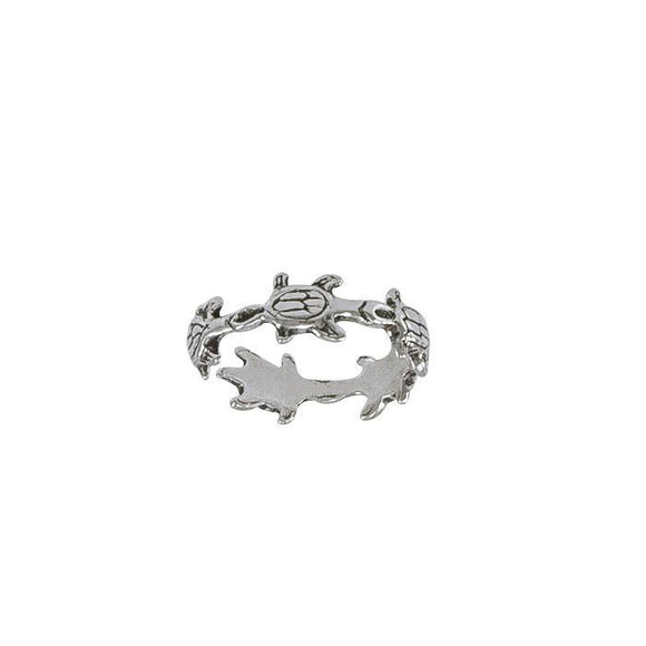 Bale of Sea TurtlesSterling Silver Toe Ring TR1470