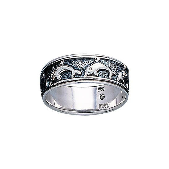 Dolphins Sterling Silver Ring TR1680