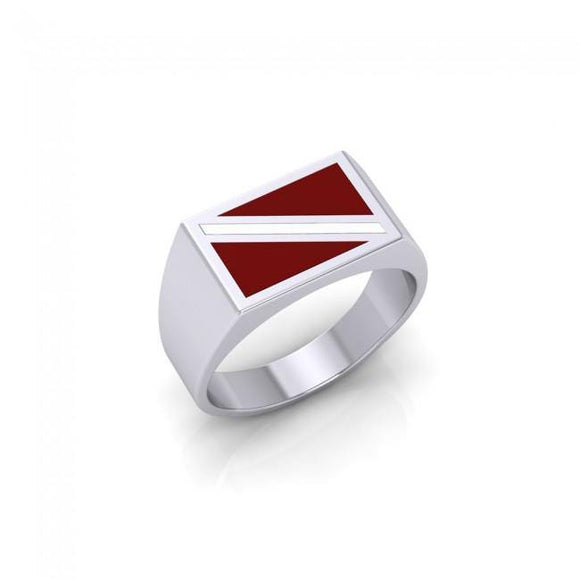 Flag Dive Sterling Silver Ring TR1796