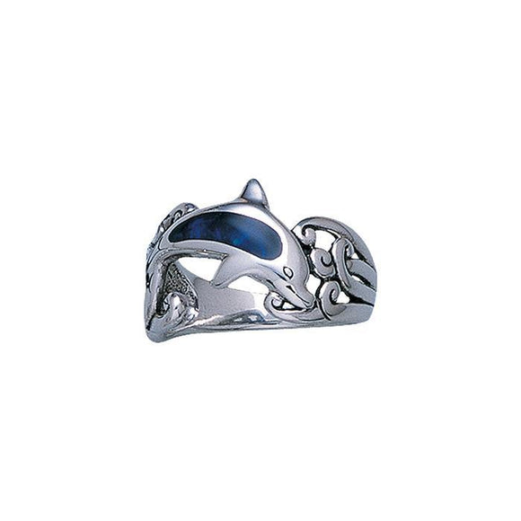 Inlaid Dolphin & Wave Waves Sterling Silver Ring TR1847 - Rings