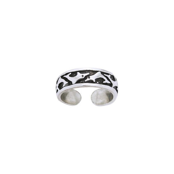 Dolphins Sterling Silver Toe Ring TR235