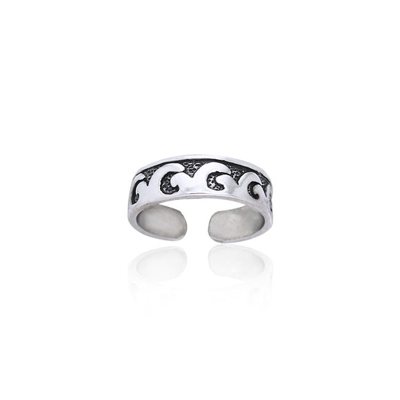 Beach Waves Sterling Silver Toe Ring TR252 - Toe Rings