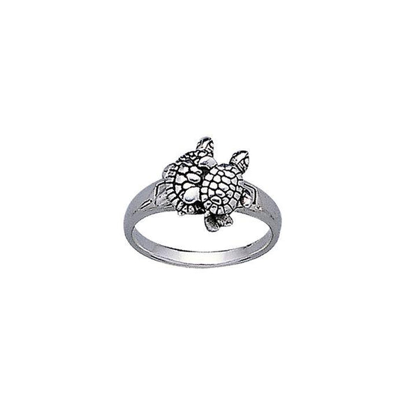 Turtle Pair Sterling Silver Ring TR3304