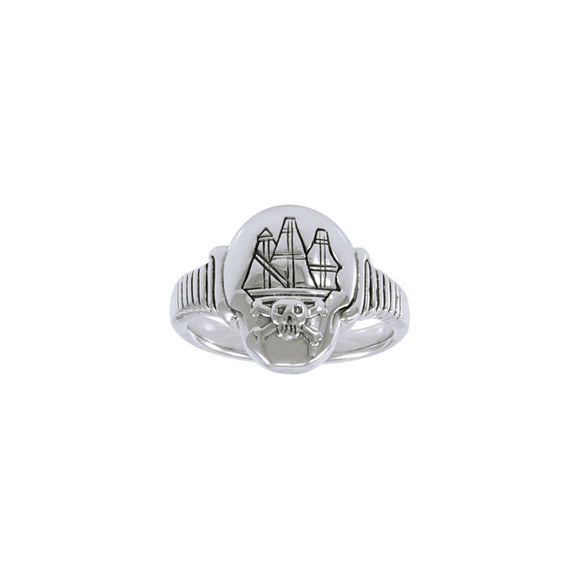Jolly Roger Ship T Sterling Silver Ring TR3662