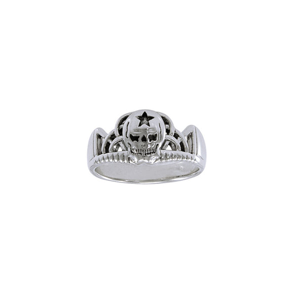 The Swallow Skull T Sterling Silver Ring TR3666