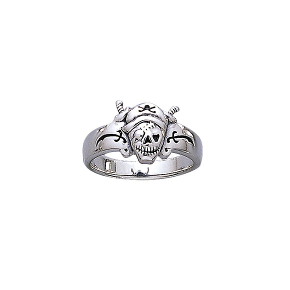 Sir John Hawkins Pirate Skull T Sterling Silver Ring TR3669