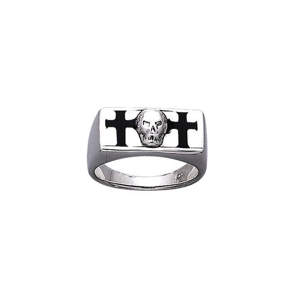 The Raleigh Skull and Cross Sterling Silver Ring TR3676
