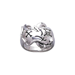 The Ranger Skull & Map T Pirate Sterling Silver Ring TR3678