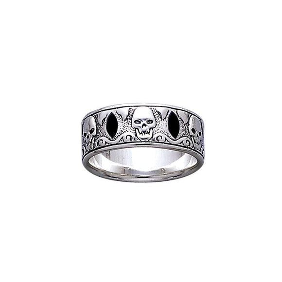 The Elizabeth Skull Band T Pirate Sterling Silver Ring TR3679