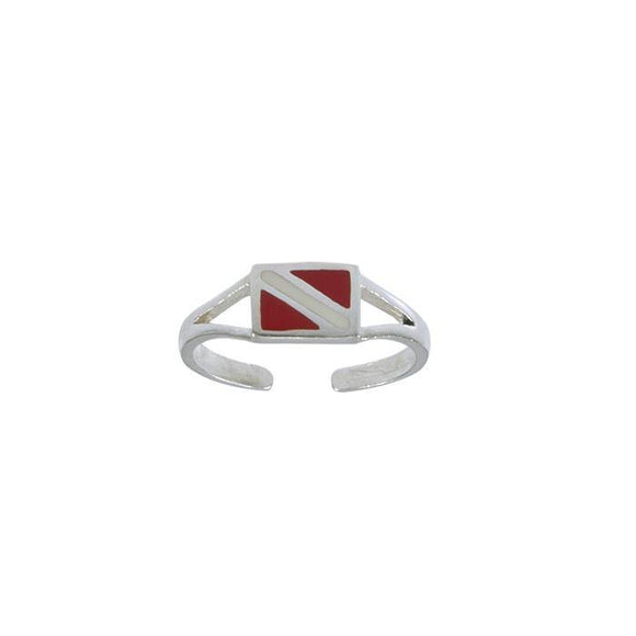 Dive Flag Sterling Silver Toe Ring TR3714