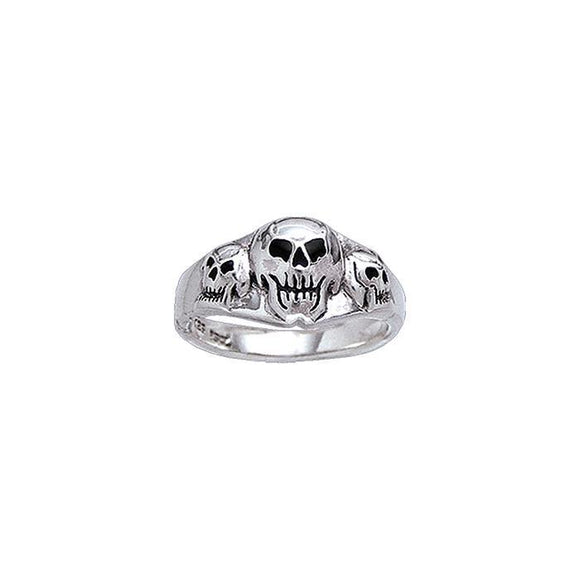 Anne Ager Triple Skull T Pirate Sterling Silver Ring TR3756