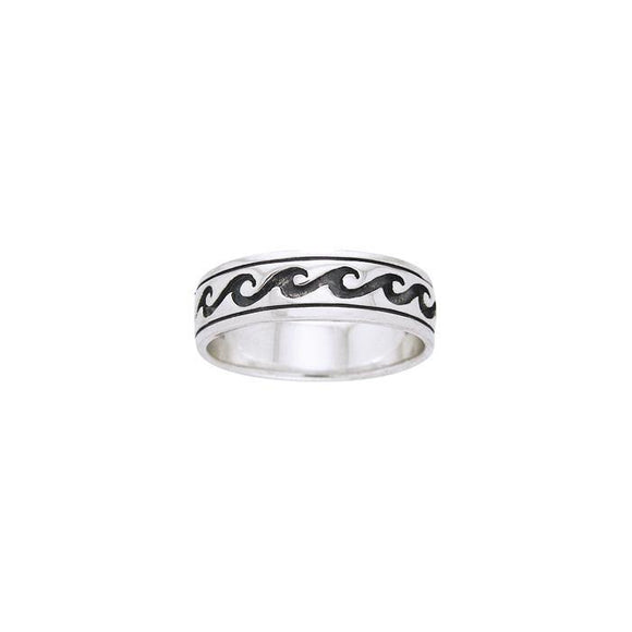 Ocean Waves Sterling Silver Ring TR513