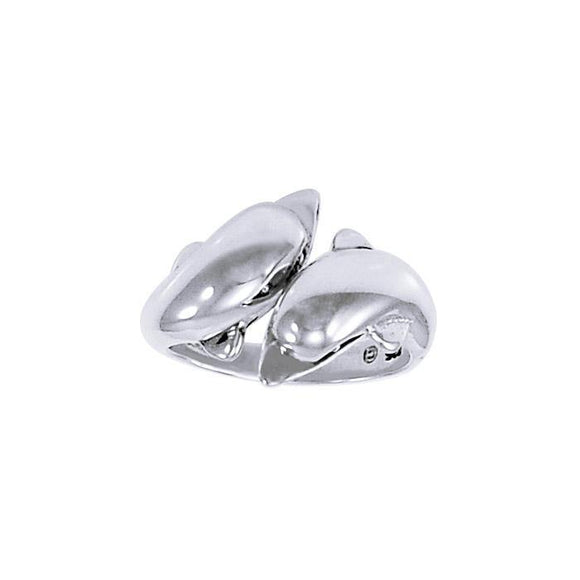 Double Dolphins Sterling Silver Ring TR516