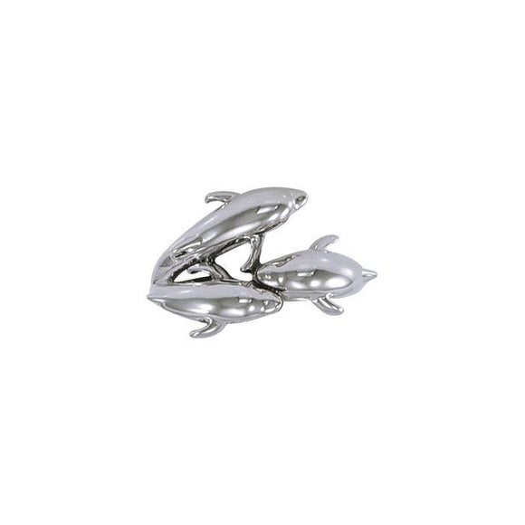 Triple Dolphin Sterling Silver Ring TR517