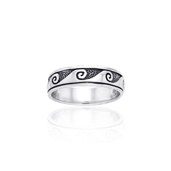 Shallow Surf Waves on the Reef Sterling Silver Ring TR553 - Rings