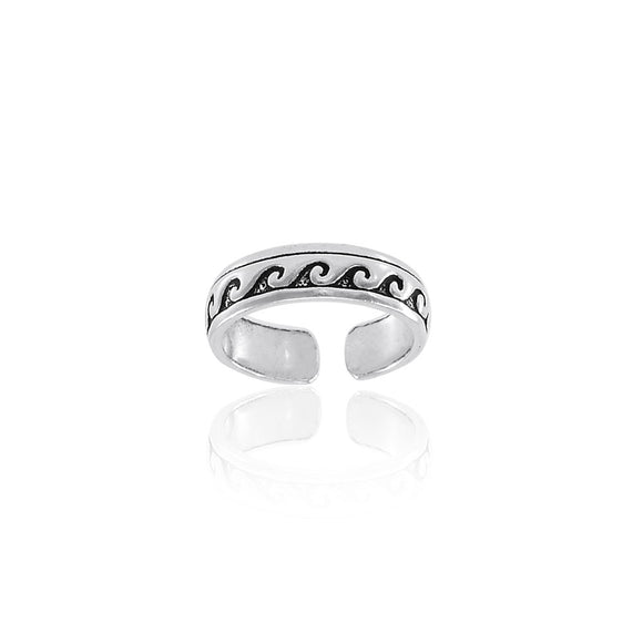 Ocean Waves Sterling Silver Toe Ring TR603